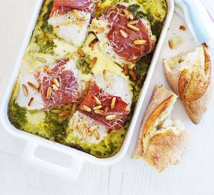 Prosciutto & pesto fish gratin - this looks yummy might try it for thursday night dinner with the girls
