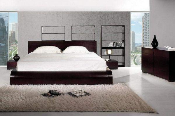 lampen schlafzimmer beiger teppich dunkelbraune einrichtung