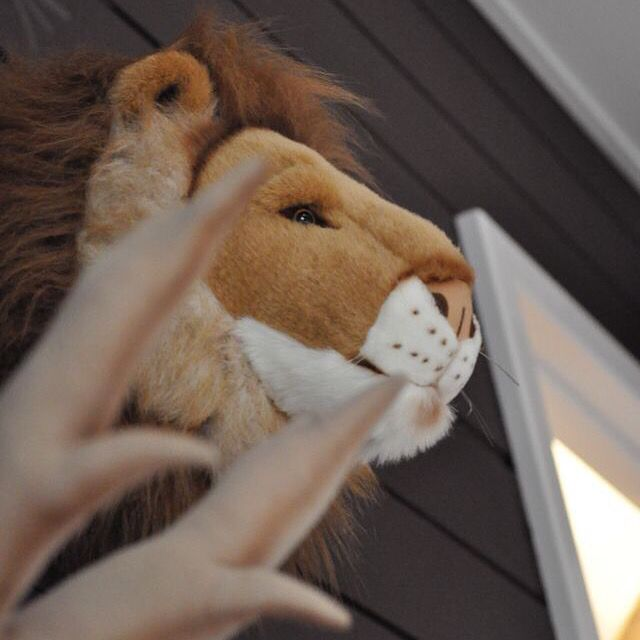 Trophée tête lion peluche toute douce à accrocher en décoration chambre enfant www.ptitloupetcie.com