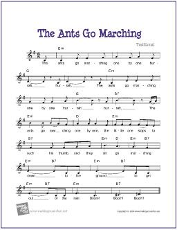 The Ants Go Marching | Free Sheet for Guitar - http://www.makingmusicfun.net/htm/f_printit_free_printable_sheet_music/ants_go_marching_leadsheet.htm