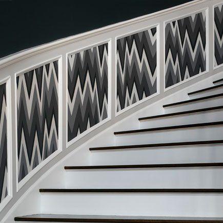 dado rail grey black white wainscoting stair treatment statement chevron pattern modern staircase