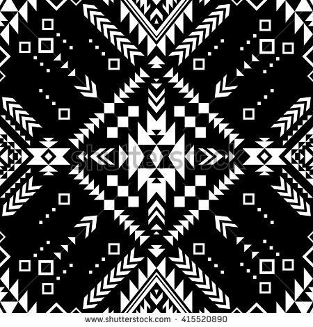 black and white color tribal navajo vector seamless