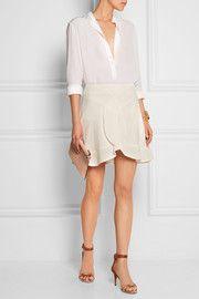 ChloéRuffled crepe de chine mini skirt