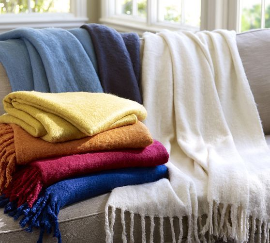 Solid Faux Mohair Throw | Pottery Barn