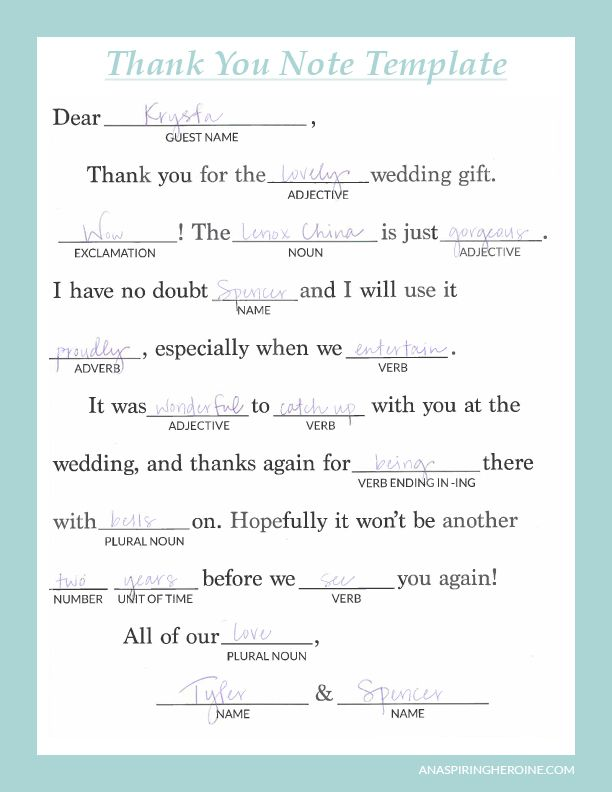 Bridal Shower Gratitude Notes