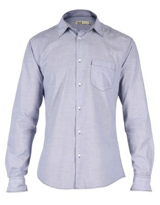 Mens Printed Long Sleeve Pinstripe Shirt Blue