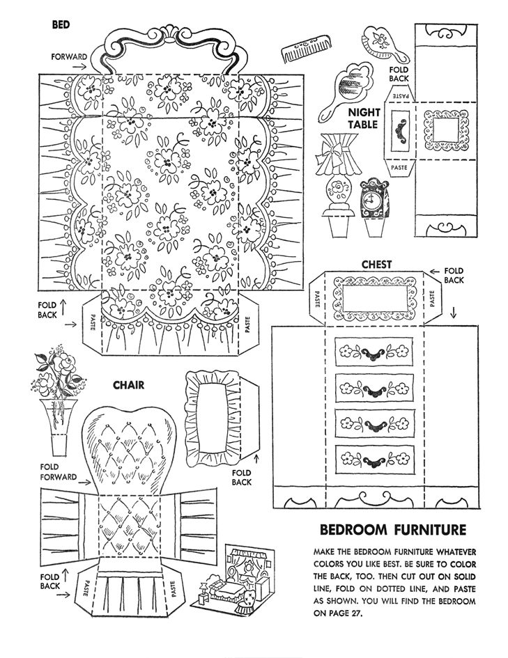 Dollhouse Furniture Coloring Pages