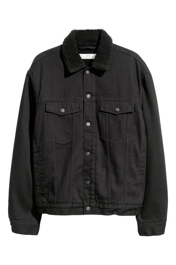 44524198314 Pile-lined Denim Jacket | Black | MEN | H&M US | cool pieces of ...