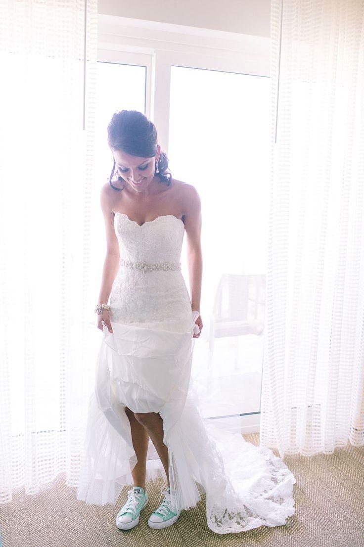 Wedding dress with Tiffany blue converses #weddingdress #converse #lace #tiffanyblue