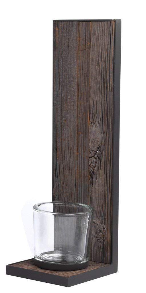 Windlicht Wand Kerzenhalter Wandkerzenhalter Wandwindlicht ALM Aus Altholz Und Metall Mit Glas Von WMG