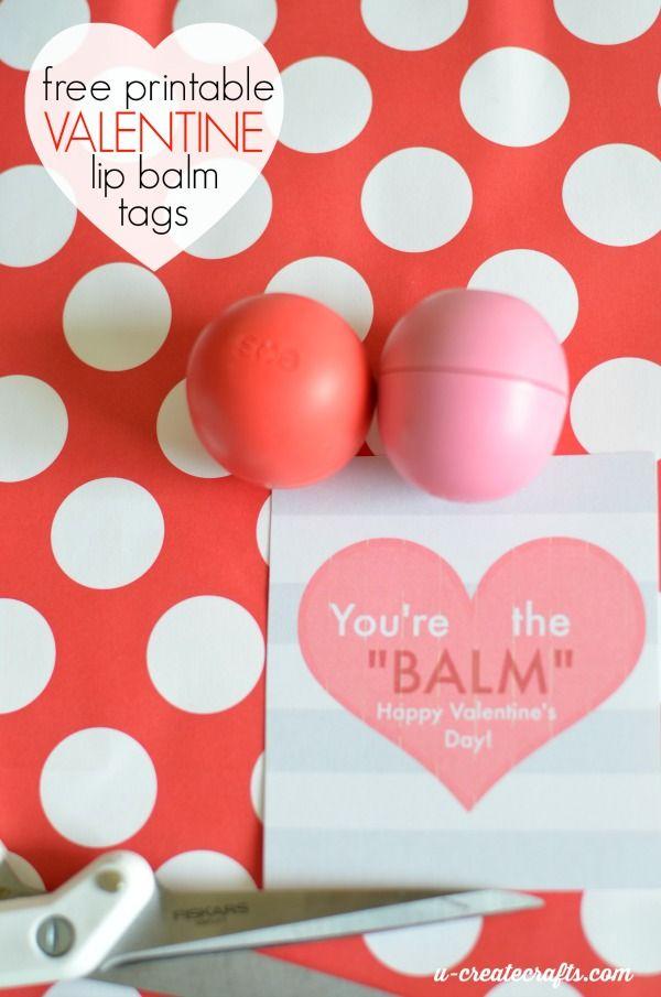 Free Printable Valentine Lip Balm Tags. You're the balm Valentines idea. Non candy idea.