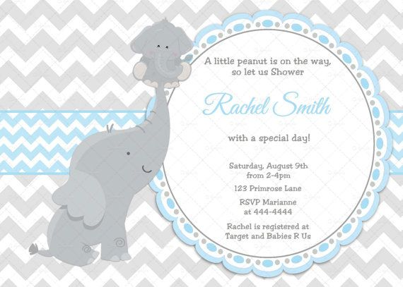 Blue with Grey Chevron Elephant Little Boy Baby Shower Invitation by CuddleBugInvitations