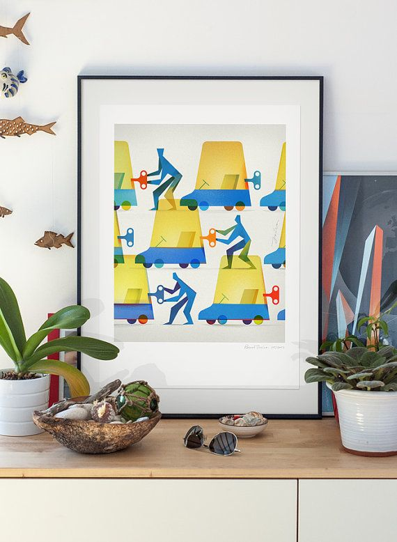Teamwork. Illustration art giclee print signed by by PawelJonca, $47.00