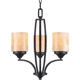 Steel mini chandelier with handcrafted shades.   Product: Mini chandelier   Construction Material: Steel, marble and polished natural stone   Color: Roan timber and honeycomb onyx   Features:  Handcrafted shadeGraceful curves create a transitional style, complementing a variety of d�cors72 Chain length120 Wire length   Accommodates: (3) 100 Watt E27 incandescent bulbs - included   Dimensions:  20.5 H x 19 Diameter