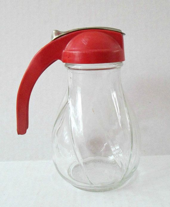 Red Handle Glass Syrup Pitcher Dispenser By