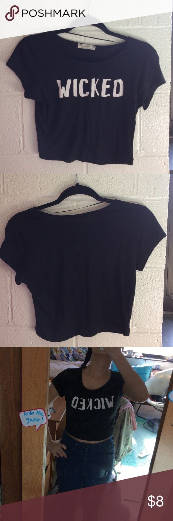 """""""wicked"""" black crop top Worn only once or twice, super cute! Says Wicked on the front, other than that just a normal black crop tshirt top. (This was bought from a store in Greece called Pink Woman). pink woman Tops Crop Tops"""