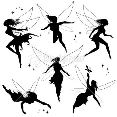 moon fairies in black silhuette royalty free stock vector