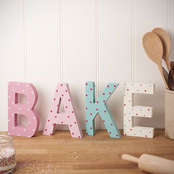 U0027Bakeu0027 Decorative Wooden Letters, Cute For Top Of Cabinets In Kitchen! (