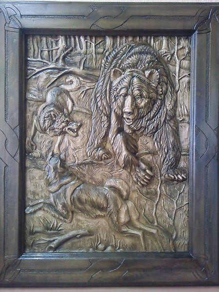 Охота на медведя - Работы для продажи - Прикладное искусство - Резьба по дереву.