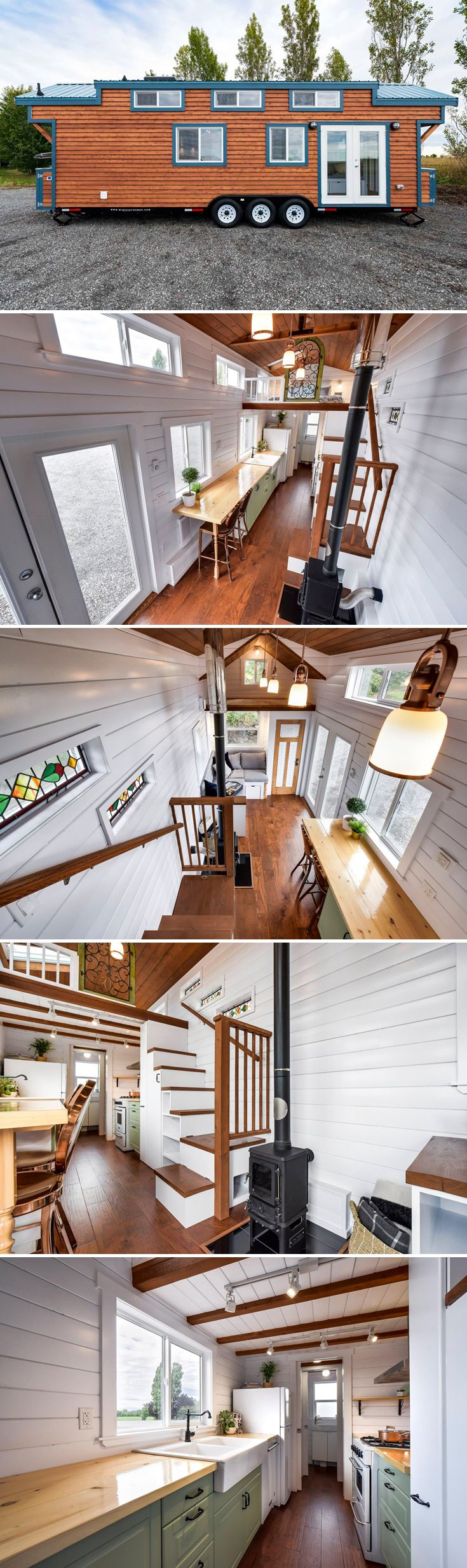 From Mint Tiny Homes is a 30' custom tiny house, complete with personal touches including stained glass windows and a decorative piece on the bedroom loft.  #tinyhouses #tinyhouseonwheels #tinyhome