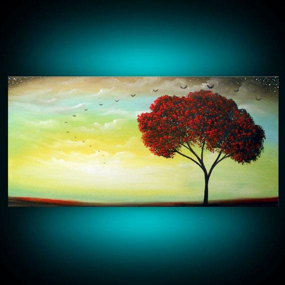 metallic gold modern tree painting