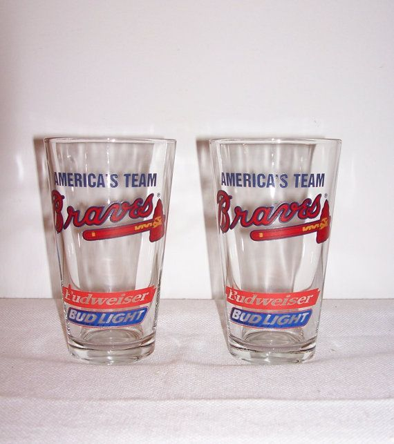 BEER GLASSES Braves Budweiser Bud Light Beer by SheCollectsICreate