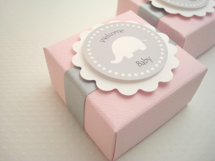 Pink and Gray Elephant Favor Boxes, Set of Ten. $20.00, via Etsy.