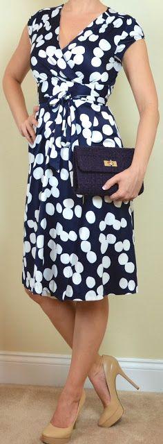 Banana Republic navy & white polka dot dress