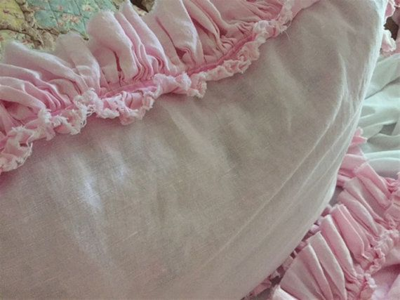 Petal Pink Washed Linen Bed Skirt---shown in queen size with 18 finished drop length  *** bed skirt with torn ruffle/velvet trim detail  ***Pair of torn ruffle/velvet trim standard shams for all sizes except king... King set includes a pair of king shams.     Velvet trim shown in baby pink...available in white   Please contact me for free fabric samples----to order this bedding, you may contact me and order by paying a deposit...with the balance due when I complete the order----righ...