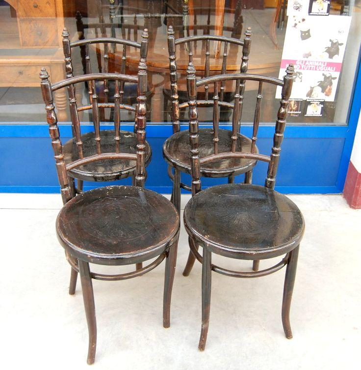 4 sedie Napoleone III metà '800 schienale decorato seduta in legno