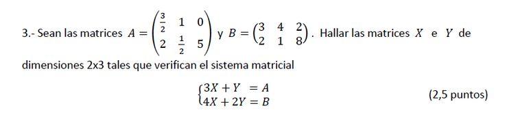 Ejercicio 3B Junio 2013-2014. Matemática, pau de Canarias, matemática 2, matrices y determinantes