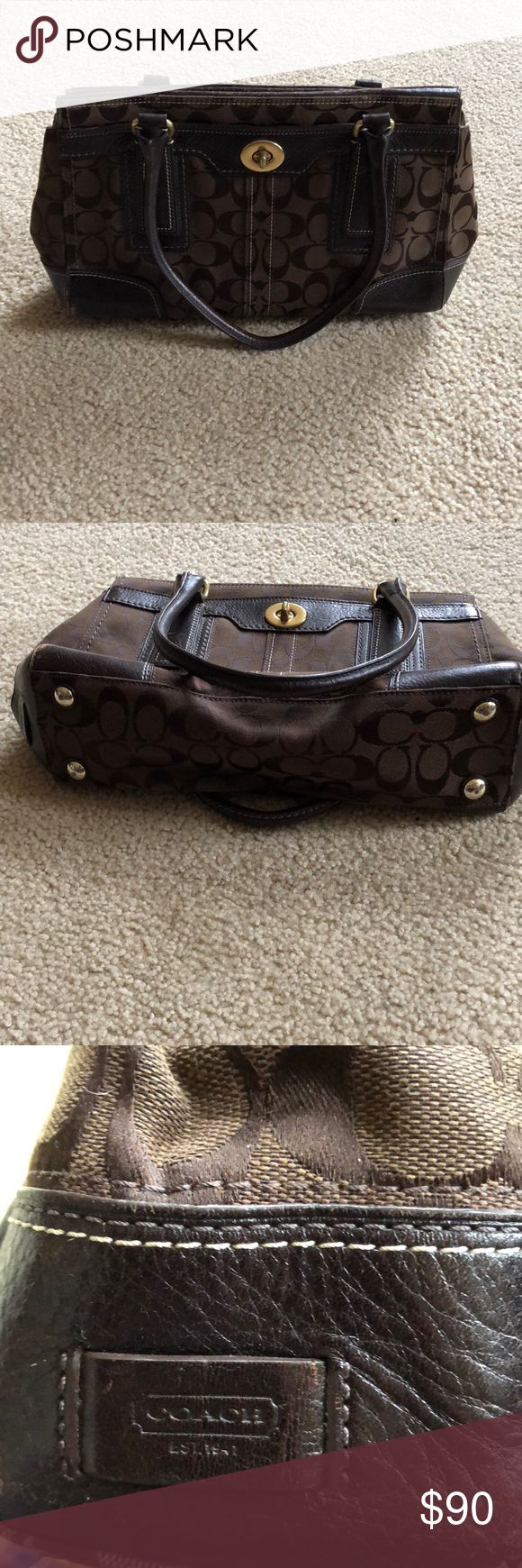 Brown w/Gold Trim Monogram Coach Satchel Timeless! Brown w/Gold Trim Monogram Coach Satchel Timeless! Gentle Wear Coach Bags Satchels