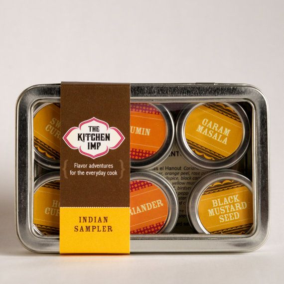 Set of 6.  Contains samples of Black Mustard Seed; Coriander; Tikka Masala; Hot Curry, Sweet Curry and Garam Masala, beautifully packaged and a