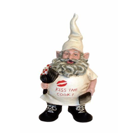 Nowaday Gnomes - Chef Gnome with Cooking Kiss the Cook Apron Figurine Statue 8.5 inchH, Multicolor