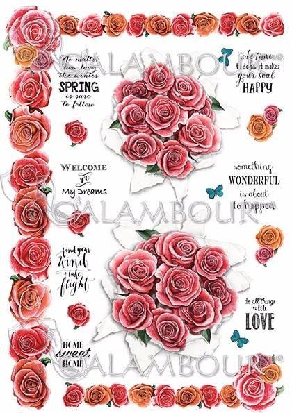 DGR 296 - papier ryżowy Gipsy bukiety róż, ramki
