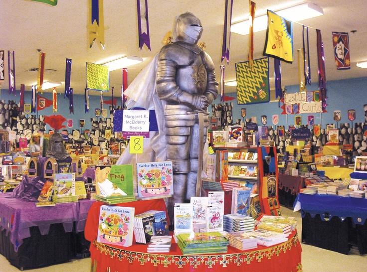 Book fair 2014: A life-sized knight greets students at this Kingdom of Reading Book Fair.