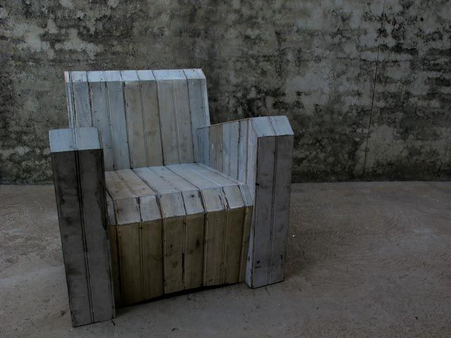 Art Deco inspired, RE-claimed timber ARMchair.