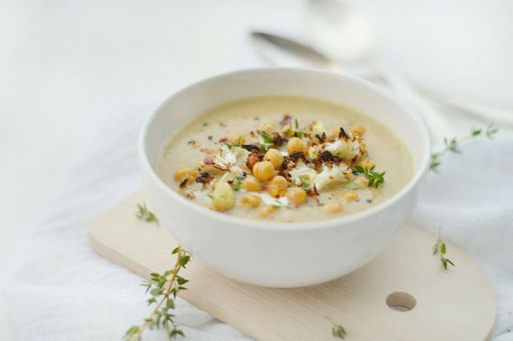 fork and flower: hearty roasted cauliflower & chickpea soup