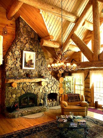 Log cabin coziness.: Stones Fireplaces, Dreams Rooms, Rocks Fireplaces, Colorado Style, Logs Cabins, Cabins Fireplaces, Bathroom Interiors Design, Cabins Cozy, Fire Places