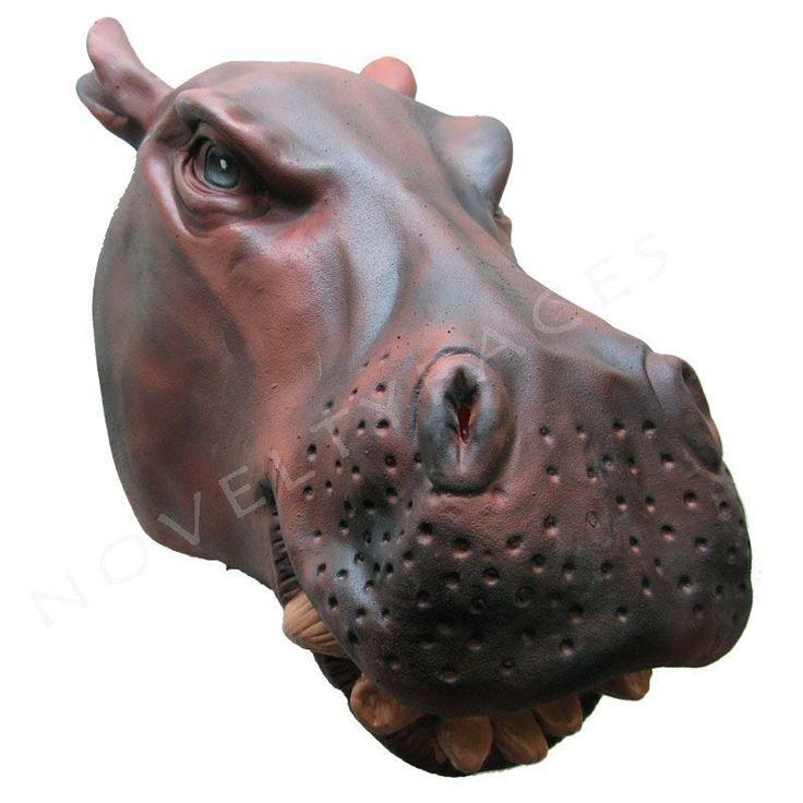 Fancy Latex Overhead High Quality Animal Hippo Handmade Party Masks