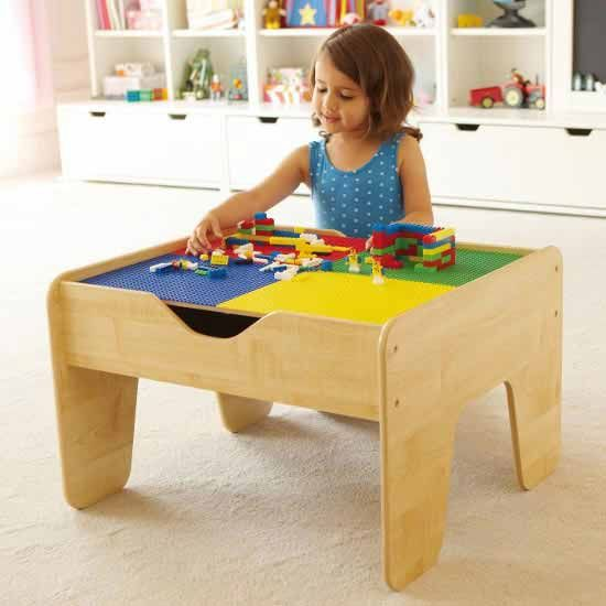 Kids play table; keeps legos in one place.
