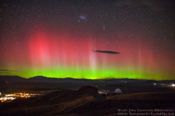 Spectacular green and pink Aurora Australis has danced across the night sky near Tekapo.