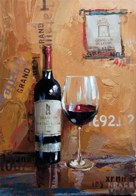 "Bottle and glass of wine ""de Chateau LaTour"", Carlo Garn. Art, Painting"
