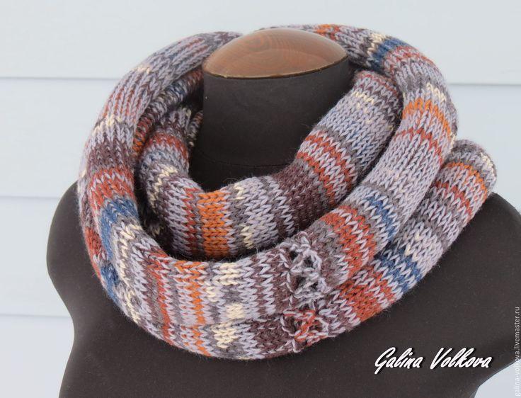 Купить Вязаный шарф хомут снуд мужской женский Городской стиль - комбинированный, шарф