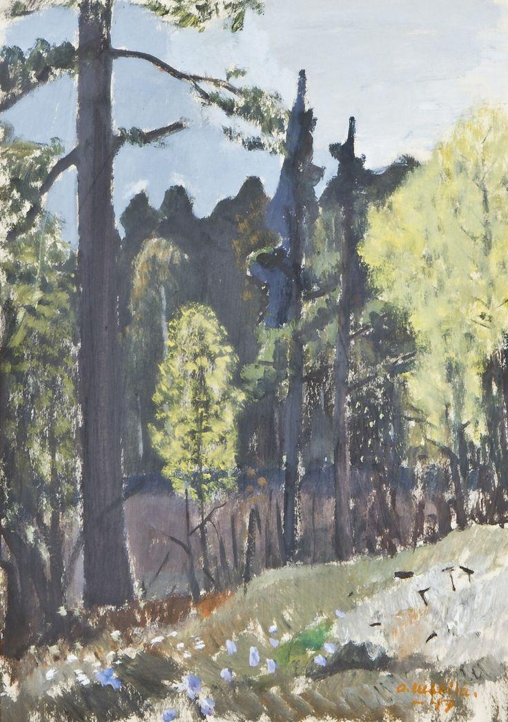 Otto Mäkilä: Metsä, 1947, sekatekniikka, 41x29 cm - Hagelstam A135