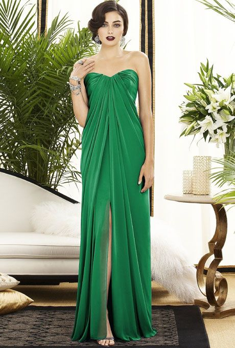 Brides: Dessy. Kelly Green Bridesmaid Dress: DessyStyle 2879, Dessy lux chiffon bridesmaid dress in shamrock, $264, available at Weddington WaySee more floor-length bridesmaid dresses.Featured In: DessyPhoto:  Courtesy of Dessy