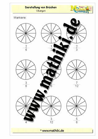 Grafische Darstellung von Brüchen - www.mathiki.de - Ihre Matheseite im Internet #math #bruch #fraction #arbeitsblatt #worksheet