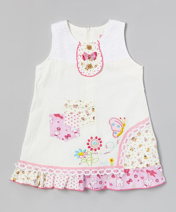 Another great find on #zulily! White Flower Pocket Ruffle Dress - Infant, Toddler & Girls by Hi-D #zulilyfinds