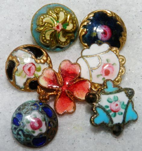 Antique hand painted, fired, glass and enamel buttons.