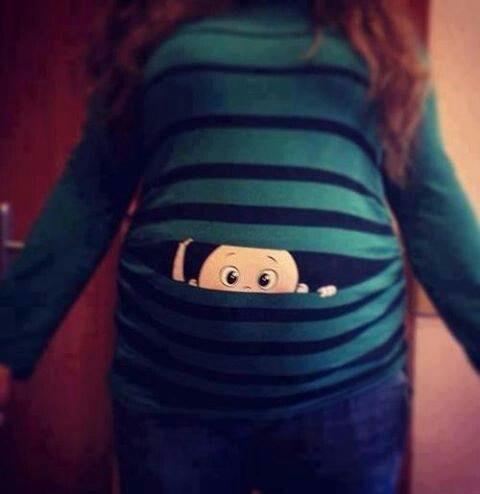 Peek-a-Boo Pregnancy shirt.